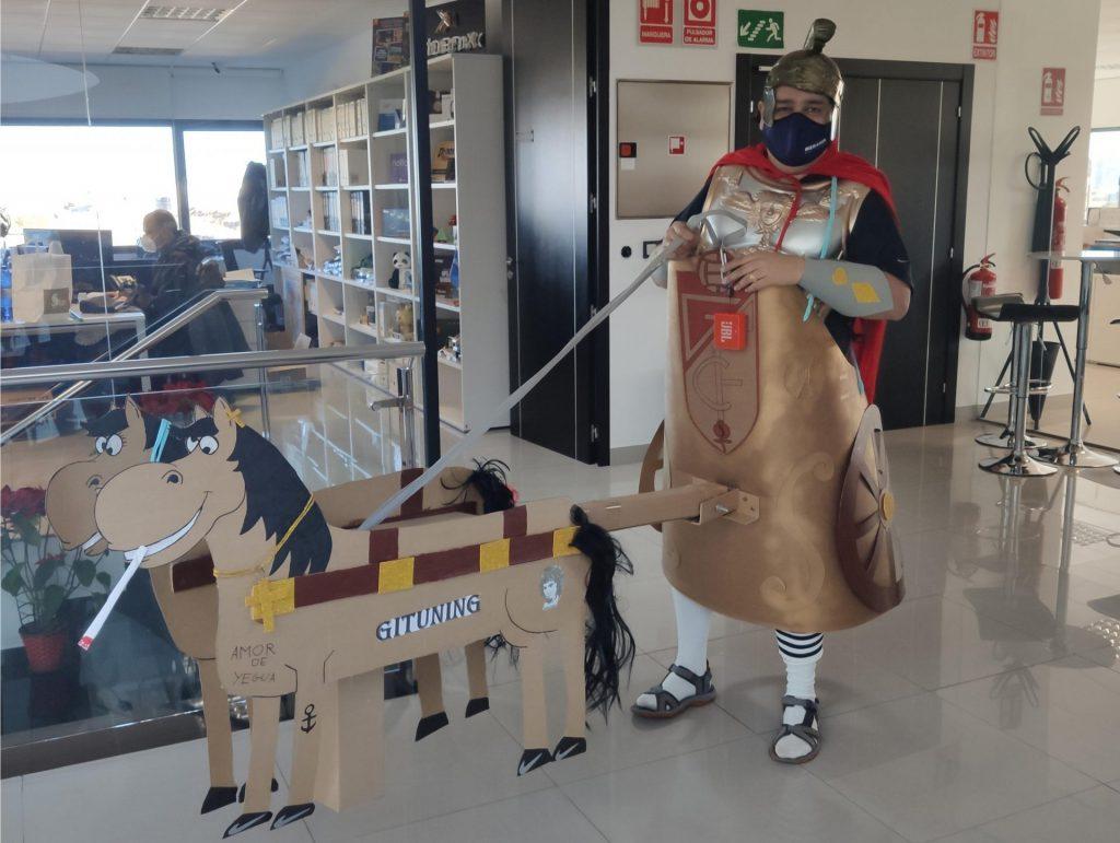Disfraz romano con caballos dynos